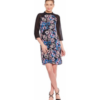 Black Casual Dress In Printed Fabric