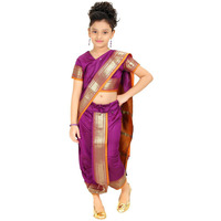Bhartiya Paridhan Girls Ready To Wear Stitched Art Silk Traditional 9 Yard Saree With Stitched Blouse