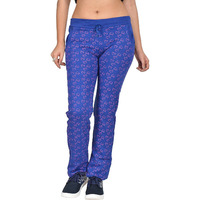 Fashion Women Cotton Hosiery Royal Blue Printed Track Pants (Size-L)