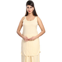 Fashion Women Cotton Hoisery Cream Solid Suit Slip (Bust size-36)