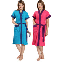 Be You Terry Cotton Blue-Pink Women Bathrobes Combo Pack of 2