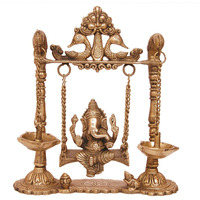Aakrati Brass Ganesha Swing with Oil Lamp with Peacock Design | Home Decoration | Table Decoration | Temple Ornaments | Hand Crafted Indian Sculpture