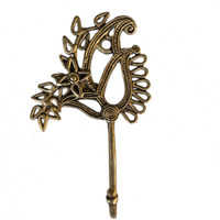 Aakrati Antique Brass Bathroom Robe Towel Hook Wall Mounted Clothes Hanger - Hook Rustic Vintage Cloth Hanger Solid Brass Bronze Color