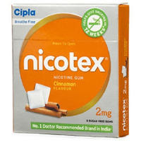 Cipla Nicotex Nicotine Gum - 2 mg 9x10 Pieces Cinnamon Stop Smoking Aid