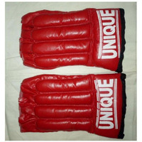 Pnaco Punching Leather Gloves Cut Finger Red