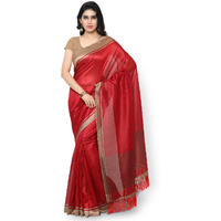 Rajnandini Red Tussar Silk Plain Traditional Saree