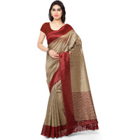 Rajnandini Beige And Maroon Tussar Silk Printed Traditional Saree