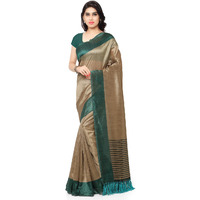 Rajnandini Beige And Teal Green Tussar Silk Printed Traditional Saree