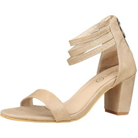 Jhamb's Nappa Leather Zipper Beige Block Heel Sandals for Women & Girls