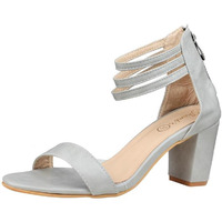 Jhamb's Nappa Leather Zipper Grey Block Heel Sandals for Women & Girls