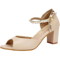 Jhamb's Nappa Leather Golden Stud Ankle Bracelet Beige Block Heel Sandals for Women & Girls
