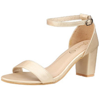 Jhamb's Ivory Satin Leather Open Toe Gold Block Heel Sandals for Women & Girls