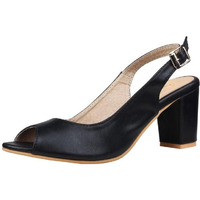 Jhamb's Ballet Style Full Grain Leather Black Block Heel Sandals For Women And Girls