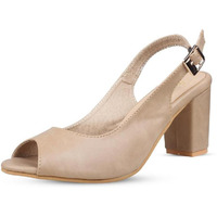 Jhamb's Ballet Style Full Grain Leather Beige Block Heel Sandals For Women And Girls