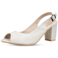 Jhamb's Ballet Style Full Grain Leather Cream Block Heel Sandals For Women And Girls