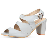 Jhamb's Nappa Leather Closed Strap Grey Block Heel Sandals for Women & Girls