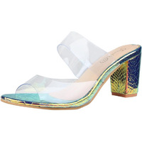 Jhamb's Stone Leather Transparent Strap Block Heel Sandals for Women & Girls