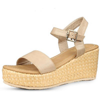 Jhamb's Full Grain Leather Beiege Wedge Heel Sandals for Women & Girls