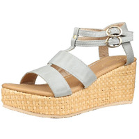 Jhamb's Full Grain Leather Closed Strappy Grey Wedge Heel Sandals for Women & Girls
