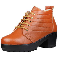 Jhamb's Grainy Leather Tan Platform Boots for Women & Girls