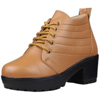 Jhamb's Grainy Leather Beige Platform Boots for Women & Girls