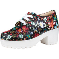 Jhamb's Nappa Leather Black Floral Multi PrintPlatform Boots for Women & Girls