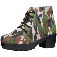 Jhamb's Nappa Leather Olive Green And Brown Camo Print Platform Boots for Women & Girls