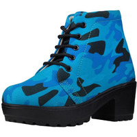 Jhamb's Nappa Leather Black And Navy Blue Camo Print Platform Boots for Women & Girls