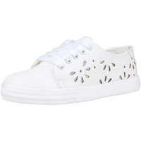 Jhamb's Nappa Leather White Floral Cut Sneakers for Women & Girls