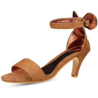 Jhamb's  Enriched Bow Nubuck Leather Cone Heel Tan Pumps Sandals for Women & Girls