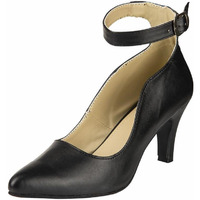 Jhamb's Nappa Leather Cone Heel Ankle Strap Black Pump Sandals for Women & Girls