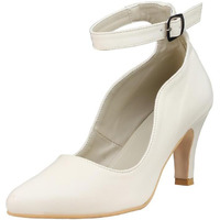 Jhamb's Nappa Leather Cone Heel Ankle Strap Cream Pump Sandals for Women & Girls