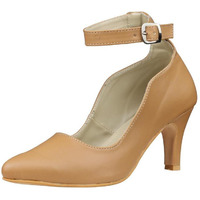 Jhamb's Nappa Leather Cone Heel Ankle Strap Beige Pump Sandals for Women & Girls