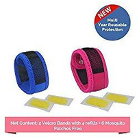 Safe-O-Kid Pack of 2 Blue & Pink Colour Mosquito Repellent Band with 4 Refills and 6 Anti Mosquito Patches (Size: Pack of 2)