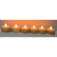 Led Tea Light Candles / Diwali Diya \w Designer Golden Holder (6 pcs)