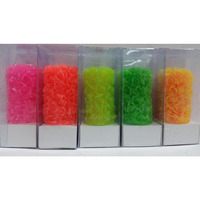 Neon Colors Tower Candles with Engraved flowers 6'' (5 pack)