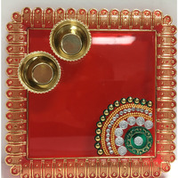 6'' x 6'' Square Pooja Thali with 2 containers