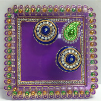 Square Festive Decorated Pooja Thali w/ Katori & Lids 6'' x 6''