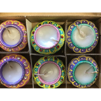 Matka Shape Wax Decortavie Diwali Clay Diya (6 Pcs)