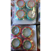 Fancy Clay Matka Style Diwali Divas / Diwali Candles (4 Pcs)