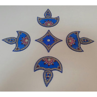Diya Design Instant Acrylic Rangoli for Diwali 5 Pieces