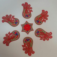 Peacock Shaped Acrylic Diwali Rangoli 7 Pcs