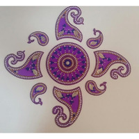 Traditional Design Acrylic Rangoli 9 pcs