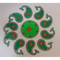 Mango Leaves Shaped 11 Pcs Large Acrylic Rangoli
