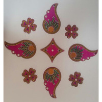 Instant Acrylic Rangoli in Flowers & Leaves Shape (9 pcs)