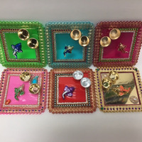Square Festive Decorated Pooja Thali \w Katoris 6'' x 6''