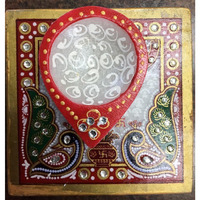 Abstract Marble Diya on Chowki with Minakari work