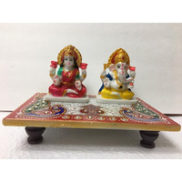 Abstract Marble Ganesh & Laxmi Idols on Chowki