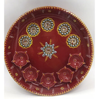 Embellished Handpainted Traditional Design Puja Thali w/ Diya