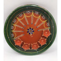 Handpainted Traditional Design Puja Thali w/ 5 Diyas